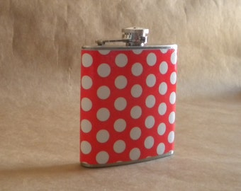 SALE Flask Bright Orange with White Polka Dots Print 6 ounce Stainless Steel Girl Gift Flask KR2D 4934