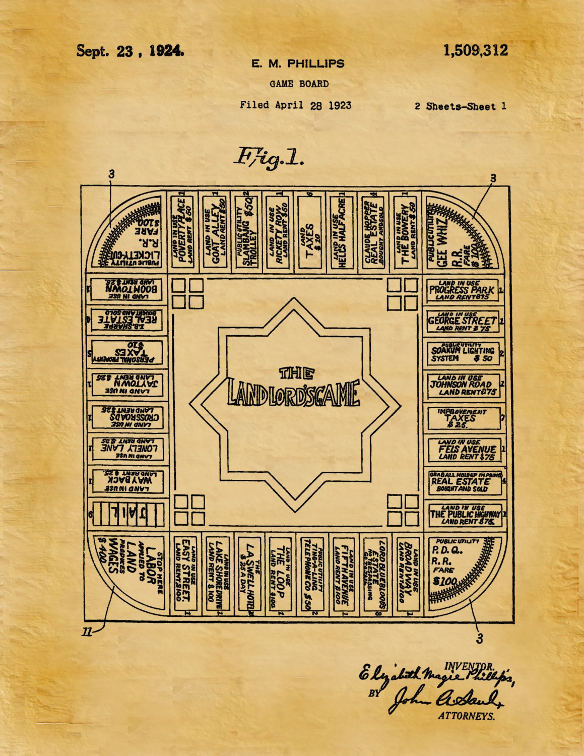 Patent 1924 land lords game predecessor to monopoly art print patent 1924 land lords game predecessor to monopoly art print poster landlord game board drawing wall art game room wall art malvernweather Choice Image