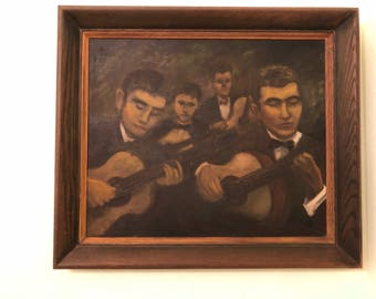 "VINTAGE OIL PAINTING, Mid Century, Spanish Guitar Players, South American, Latin, 28"" X 24.5"", Hispanic, Guitar, Signed at Modern Logic"