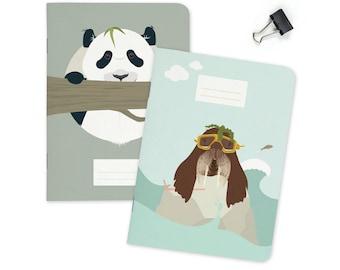 "Pocket size Notebook - Panda & Walrus | A6 - 4.13 x 5.83"""