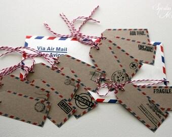 Label / tag AIR MAIL - x12 - theme TRAVEL