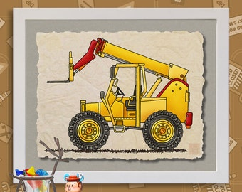 Kid Construction Art Boom Lift Truck Whimsical yellow digger print adds to kids room construction zone as 8x10 or 13x19 wall decor