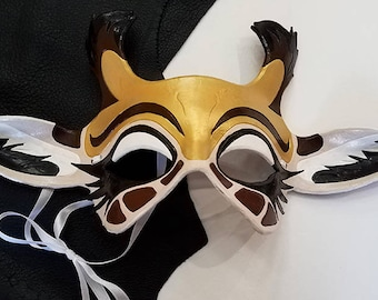 Leather Giraffe Mask - Made to Order