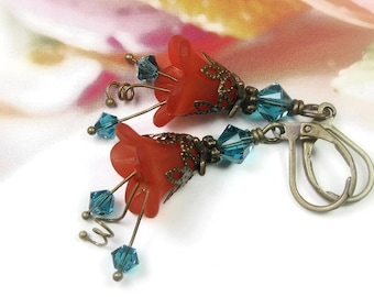Flower Earrings, Antiqued Brass Dangle Earrings, Vintage Style, Blue Zircon Swarovski Crystal Earrings, Lucite Flowers, Gifts For Gardeners