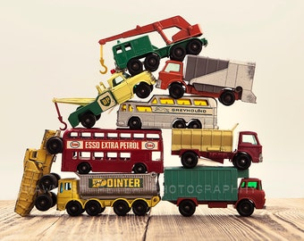 Vintage Stacked Matchbox Work Vehicles Pile, One Photo Print, Boys Room decor, Boys Nursery Prints