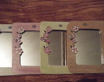 SMALL mirrors woodcut flowers