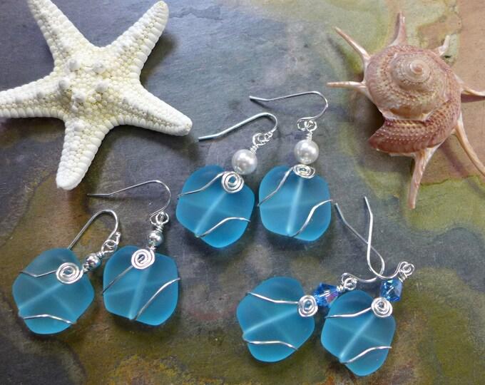 Blue Sea Glass Earrings in Sterling Silver, lt. Aqua Blue Sea Glass Earrings, Beach Weddings, Aqua Bule Silver Earrings