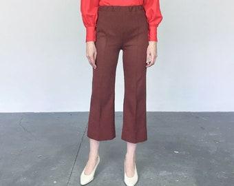 1970s Rust Textured Knit High Waist Crop Wide Leg Flare Pant (S)