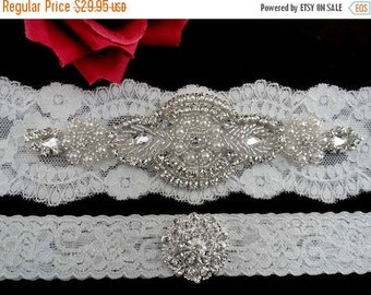 Bridal Wedding Garter Set Bride Jewelry Crystal Pearl Beaded Applique Accessories Accessory Off White Ivory Lace Keepsake Toss Garters