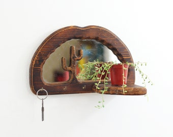 Vintage Wood Cactus Key Rack Mirror / Boho Wooden Cactus Mirror / Carved Wood Key Hooks & Shelf / Cactus Wall Organizer / Boho Home Decor