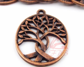 2 Tree Of Life Charms 31mm Antiqued Copper Tree Pendant For Jewelry Making CC0087708