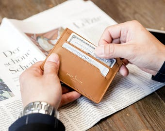 Genuine Leather Tan Color Minimalist Slim Card Wallet - Holds Up To 14 Credit Cards, Business Cards, and Cash - Small Gift for Him