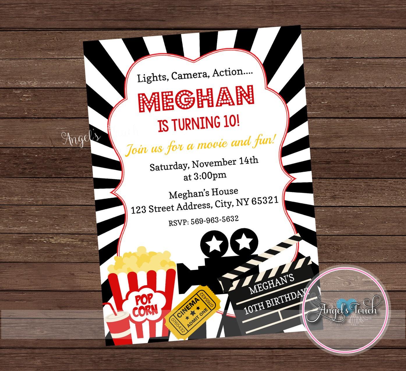 Movie Party Invitation Movie Night Party Invitation Movie