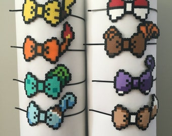 8-bit Pokemon Pokeball, Pikachu, Charmander Bulbasaur, Squirtle, Eevee, Mewtwo, Vulpix Character Pixel Art Bow Headbands, Barrette, Bow Tie