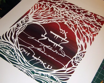 Papercut Artwork - commemoration of Anniversary - original papercut lettering and design