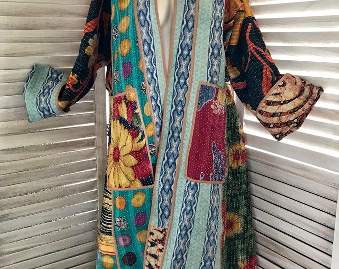 Super delicious color combo reversible artist designer kantha coat