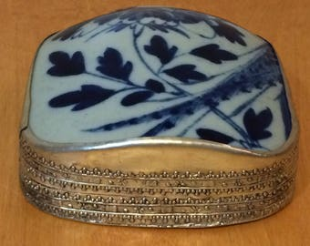 Large Vintage Porcelain and Silver Jewelry Box