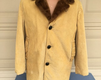 Vintage 1950s Corduroy Car Coat with Fancy Back. Size S/M Rt3wQ