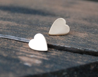 Gold, Heart Stud Earrings, Sterling Silver Posts, Heart posts, Heart earrings, love, anniversary gift, birthday gift