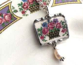 Broken china jewelry, china pendant necklace, antique basket of roses with forget me not, pearl, antique porcelain, made from a broken plate