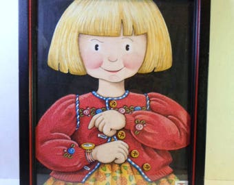 Vintage Mary ENGELBREIT PRINT Blonde GIRL Pointing At Watch In Black Wood Frame