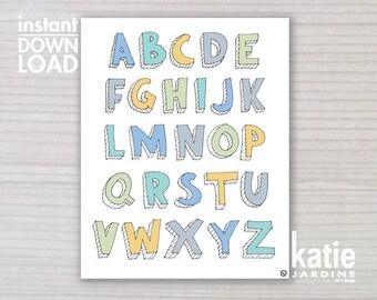 alphabet print - ABC print -  kids wall art - boys ABC - 8x10 print - instant art - printable art - freehand text - boys colours ABC