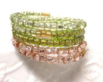 Pink and Green Glass Bead Wrap Bracelet