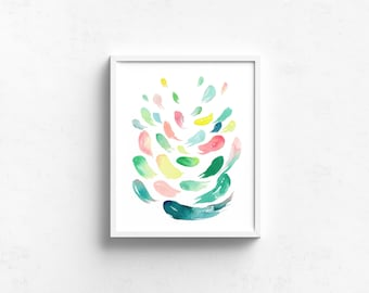 Abstract Watercolor Art Giclee Print - Summer Scatters I