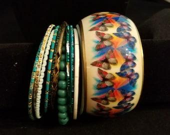 Beautiful Butterflies - Bangle Bracelet set