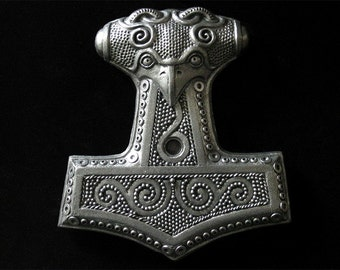 Mjolnir: Thor's Hammer with SILVER finish. Cold cast metal Norse/Viking wall plaque