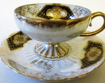 Vintage Bone China Teacup Saucer Demitasse Japan Lustreware Black Gold Floral Trim Royal Sealy Pedestal