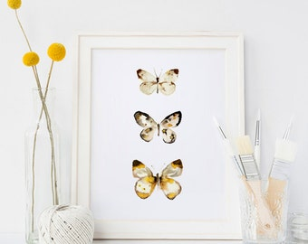 """Watercolour Butterfly Painting PRINT - Signed Watercolour Giclee Print from Original Insect Painting - Gift - Nursery Art - 5x7"""" or A4"""
