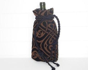 Gothic Bohemian Wine Bag Gift Bag Black Cut Chenille