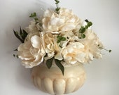 Romantic wall decor - shabby chic wall decor - flower sconce - wall sconce flowers - ceramic sconce - flower arrangement - beige peonies