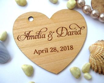 Wooden Hearts , Wedding Favors Tags, Rustic Wedding, Custom Heart tags, Personalized heart tags, Wood tags, Wooden tags, Heart label