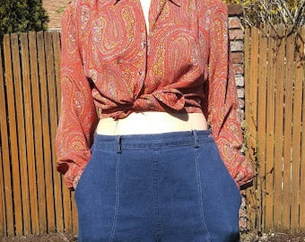 1950s high waisted side closing blue jeans by Ranch Craft // large