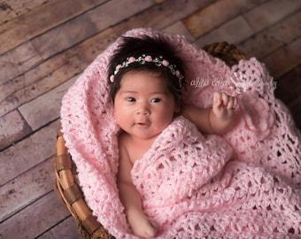 Pink and Rhinestone Headband, Baby Headband, Newborn Headband, Halo Headband, Photography Prop, Baby Girl Prop, Newborn Photo Prop