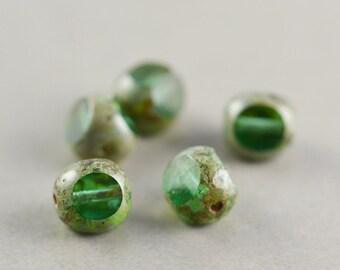 Teal Green Aqua Beads, Czech Glass, 8mm Picasso Beads, Five