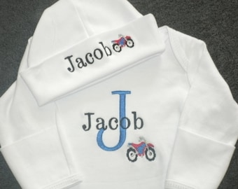 Personalized Newborn Gown and Cap set Monogrammed Coming Home Outfit Motorcycle