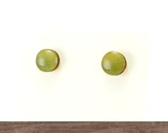Washi stud earrings, Everyday studs, Japanese earrings, Tiny wooden studs, Yellow green earrings, Titanium studs, Nickel free earrings,