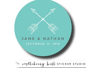 Arrow wedding stickers, wedding stickers for favors, arrow wedding logo stickers, wedding stickers personalized custom wedding labels