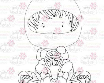 Go Kart/Racing Driver Male/Boy Digital Stamp - by Nikky Hall