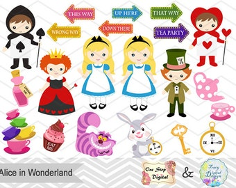 Digital Alice in Wonderland Clipart, Alice in Wonderland Digital Clip Art, Wonderland Clipart, Alice Clip Art, Instant Download, 0228