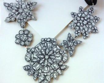 Handpainted Fabric Trompe l'Oeil Diamond Statement Necklace