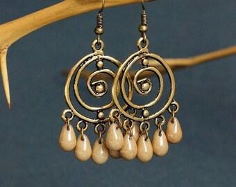 Brass Drop Boho Earrings Chandelier Earrings Brass Earrings Hippie Earring Chandelier Drop Earring Brass Boho Jewelrry Gypsy Earring