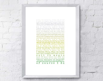 Magic Print, song lyrics print, Gift for husband, Gift for wife, Coldplay, song lyrics first dance anniversary gift, gift for him