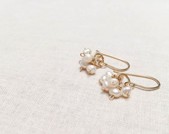 Freshwater Pearl Simple Bridal Cluster Drops - 14k Yellow Gold Fill Artisan Tiny White Genuine Freshwater Pearl Earrings June Birthstone