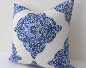 Navy medallion ikat decorative pillow cover