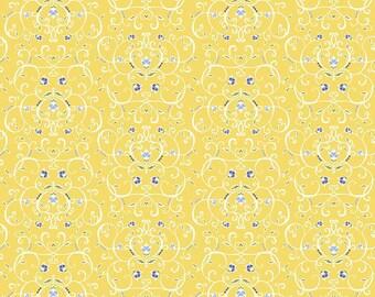 5 Yard Cut - Penny Rose - Jillilly Studios Yellow Floral - Floral
