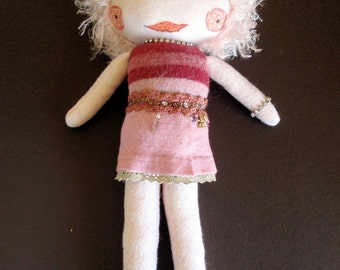 Felted Wool Soft Sculpture Fancy Girl Doll